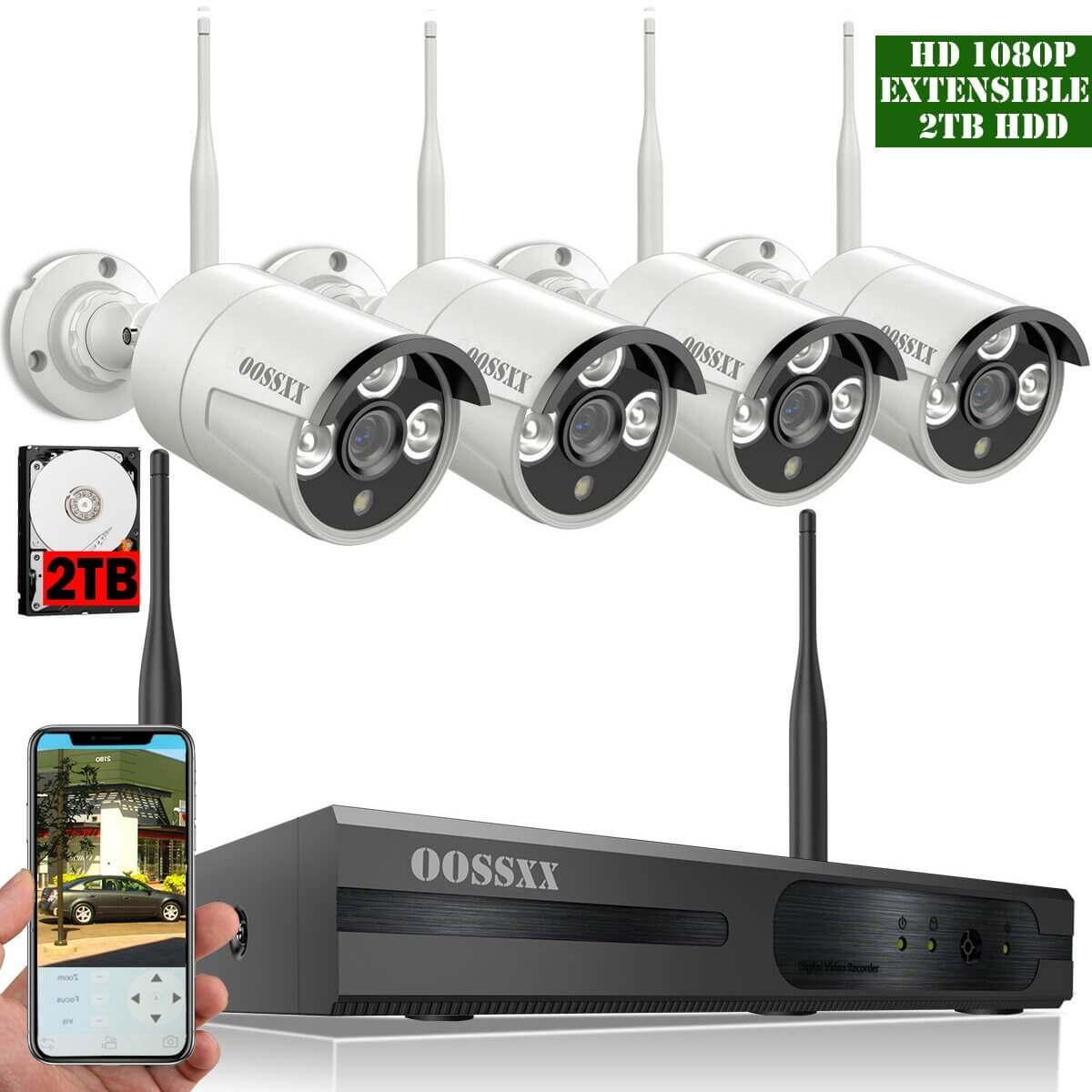 Best Wireless Outdoor Security Cameras System for Home (OOSSXX 8-Channel HD 1080P Wireless IP Security Camera System)